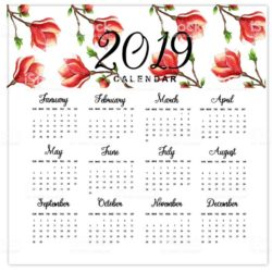 Watercolor 2019 Floral Calendar